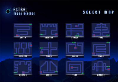 Astral Tower Defense - Map Selection
