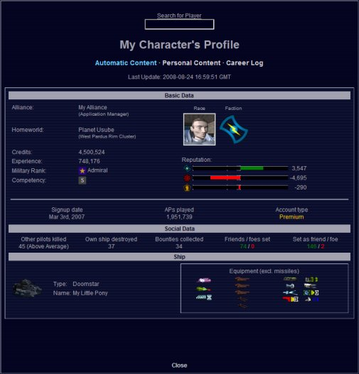 Part of a player profile