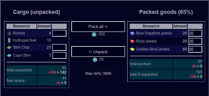 Pack Goods Interface